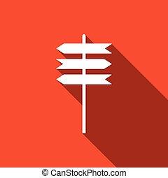 plat, poteau indicateur, symbole., long, signe, vecteur, illustration, icon., indicateur, shadow., route, icône