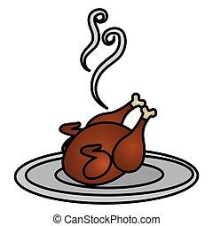 plat, poulet, viande, délicieux