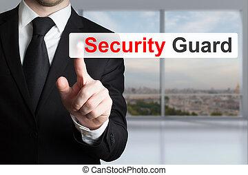 plat, poussée bouton, garde, homme affaires, sécurité
