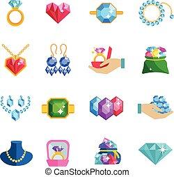 plat, précieux, bijoux, icônes