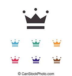 plat, premie, symbool, kroon, vrijstaand, illustratie, element, vector, coronet, modieus, geluksspelletjes, icon., kwaliteit, style.