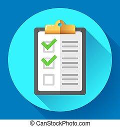plat, presse-papiers, liste contrôle, vecteur, vert, icône