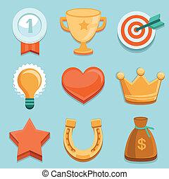 plat, prestatie, icons., vector, gamification, kentekens