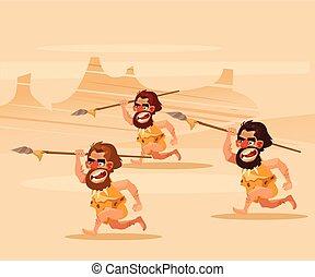 plat, primitif, chasser, hunting., cavemen, fâché, caractère, affamé, illustration, courant, vecteur, dessin animé