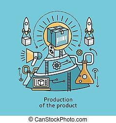 plat, produit, concept, production, conception, icône