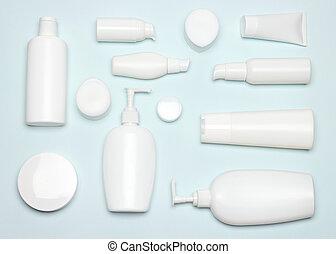 plat, produits beauté, poser, soin peau, produits de beauté