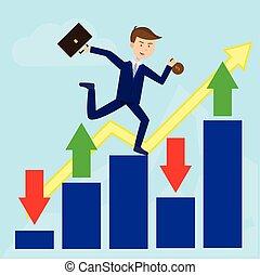 plat, profit, courant, croissance, flèche, homme affaires
