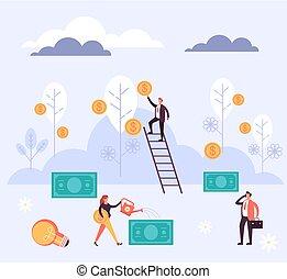 plat, profite, argent, vecteur, illustration, conception, réussi, dessin animé, investissement, graphique, concept.