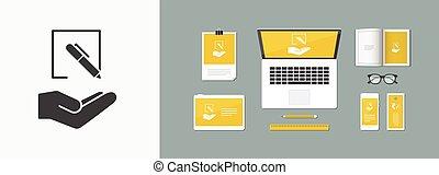 plat, -, projet, vecteur, conception, icône