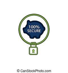 plat, protéger, assurer, icône, économies, illustrations, ton, design.