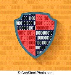 plat, protection, données, bouclier, icône