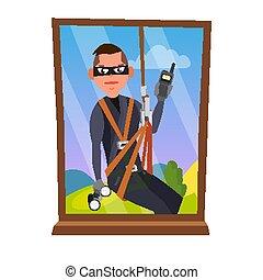 plat, purse., maison, concept., rupture, cambrioleur, voleur, illustration, isolé, masque, voleur, fenêtre, par, fenêtre., vector., vol, dessin animé, assurance, voleur