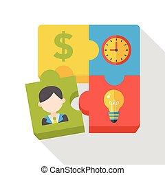 plat, puzzle, business, icône