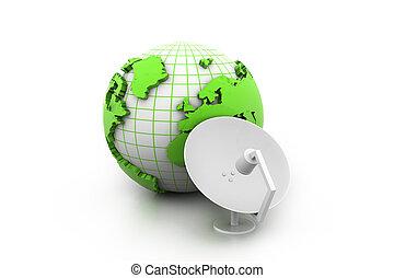 plat, récepteur satellite