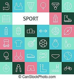 plat, récréation, ensemble, art, icônes, moderne, sports, vecteur, ligne
