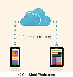 plat, réseau, calculer, technologie, concept., stockage, nuage, fond, internet, données, couper