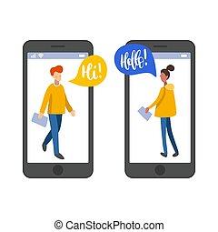 plat, réseau, connaissance, bavarder, users., app, ligne, illustration, vecteur, infographics, dater, gens., social
