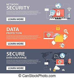 plat, réseau, icônes, données, échange, protection, sécurité, gabarit, bannière, assurer