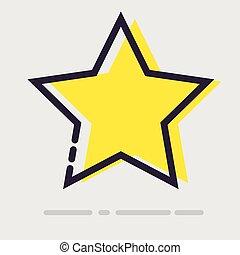 plat, résumé, étoile, icon., jaune