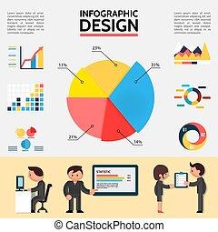 plat, résumé, infographic, gabarit