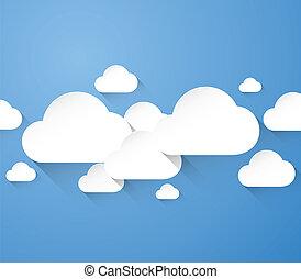 plat, résumé, nuages, blanc, lon