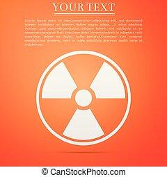 plat, radioactif, orange, signe., radiation, isolé, danger, symbole., arrière-plan., vecteur, illustration, toxique, icône, design.