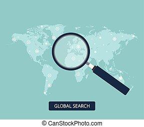 plat, recherche, concept., global, illustration, vecteur, design.