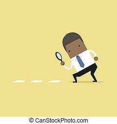 plat, recherche, magnifier, recherche, indice, détails, homme affaires, verre., africaine, par, concept., style., dessin animé