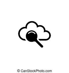 plat, recherche, vecteur, nuage, icône