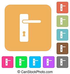 plat, rechts, handvat, iconen, eenvoudig, deur, overhandigde, plein, afgerond