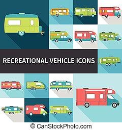 plat, recreatief voertuig, iconen