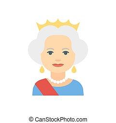 plat, reine, icône