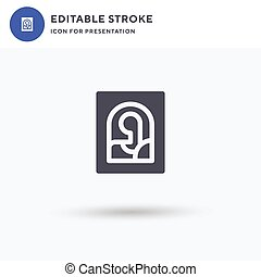 plat, rempli, lisa, mona, vecteur, pictogramme, solide, logo, isolé, presentation., icône, illustration., signe, blanc