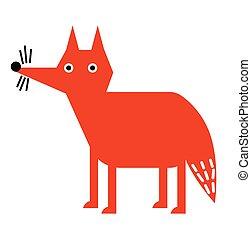 plat, renard, illustration