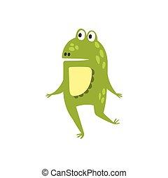 plat, reptile, caractère, deux, grenouille, dessin, courant, vert, animal, dessin animé, jambes, amical