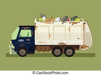 plat, restafval, vrijstaand, illustratie, vector, truck., spotprent