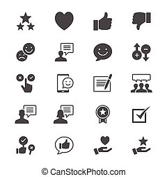 plat, revue, réaction, icônes
