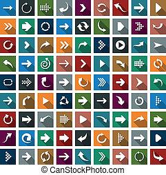 plat, richtingwijzer, icons.