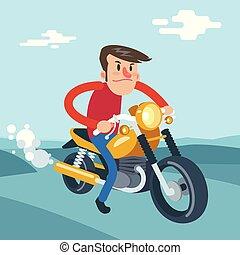 plat, rijden, illustratie, vector, motorfiets, spotprent, man