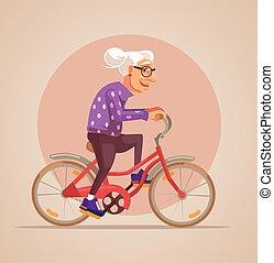 plat, rijden, karakter, bike., grootmoeder, vector, illustratie, spotprent