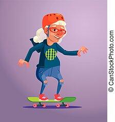 plat, rijden, karakter, illustratie, grootmoeder, vector, skater., spotprent