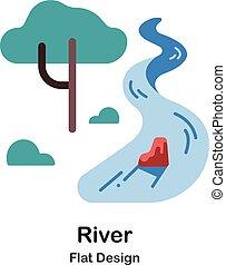 plat, rivière, icône