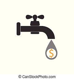 plat, robinet, robinet, illustration., argent, signe., -, signe, eau, vecteur, dollar., icône, design.