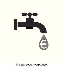 plat, robinet, robinet, illustration., argent, signe., -, signe, eau, vecteur, icône, euro., design.