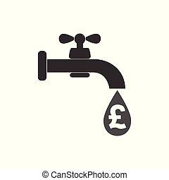 plat, robinet, robinet, illustration., argent, signe., -, signe, eau, vecteur, icône, pound., design.