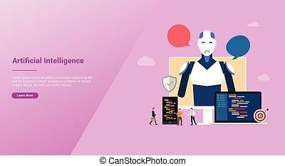 plat, robot, ai, artificiel, vecteur, développement, site web, construction, concept, style, gabarit, intelligence, atterrissage, page accueil, -, technologie moderne