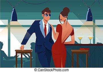 plat, romantique, restaurant, couple, jeune, date.
