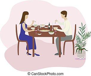 plat, romantische, gezin, valentines, vrijstaand, illustratie, vector, diner.