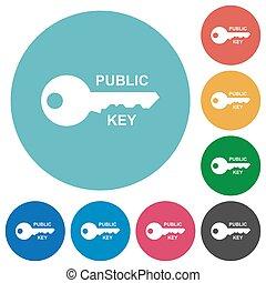 plat, rond, public, clã©, icônes