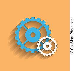 plat, roue dentée, vecteur, icône